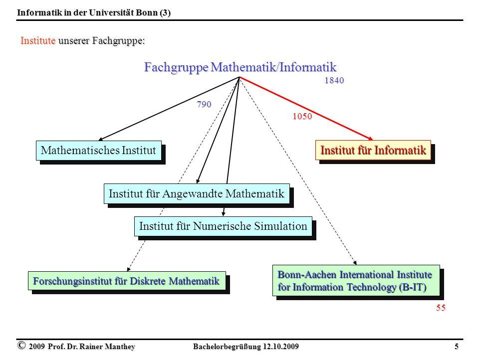 © 2009 Prof. Dr. Rainer Manthey Bachelorbegrüßung 12.10.2009 5 Informatik in der Universität Bonn (3) Fachgruppe Mathematik/Informatik Mathematisches