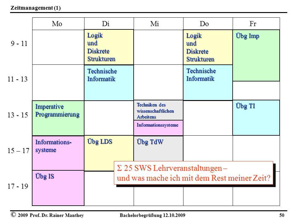 © 2009 Prof. Dr. Rainer Manthey Bachelorbegrüßung 12.10.2009 50 Zeitmanagement (1) Mo Di Mi Do Fr Mo Di Mi Do Fr 9 - 11 9 - 11 11 - 13 13 - 15 15 – 17