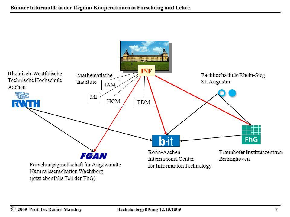 © 2009 Prof. Dr. Rainer Manthey Bachelorbegrüßung 12.10.2009 7 Bonner Informatik in der Region: Kooperationen in Forschung und Lehre FDM IAM HCM Forsc