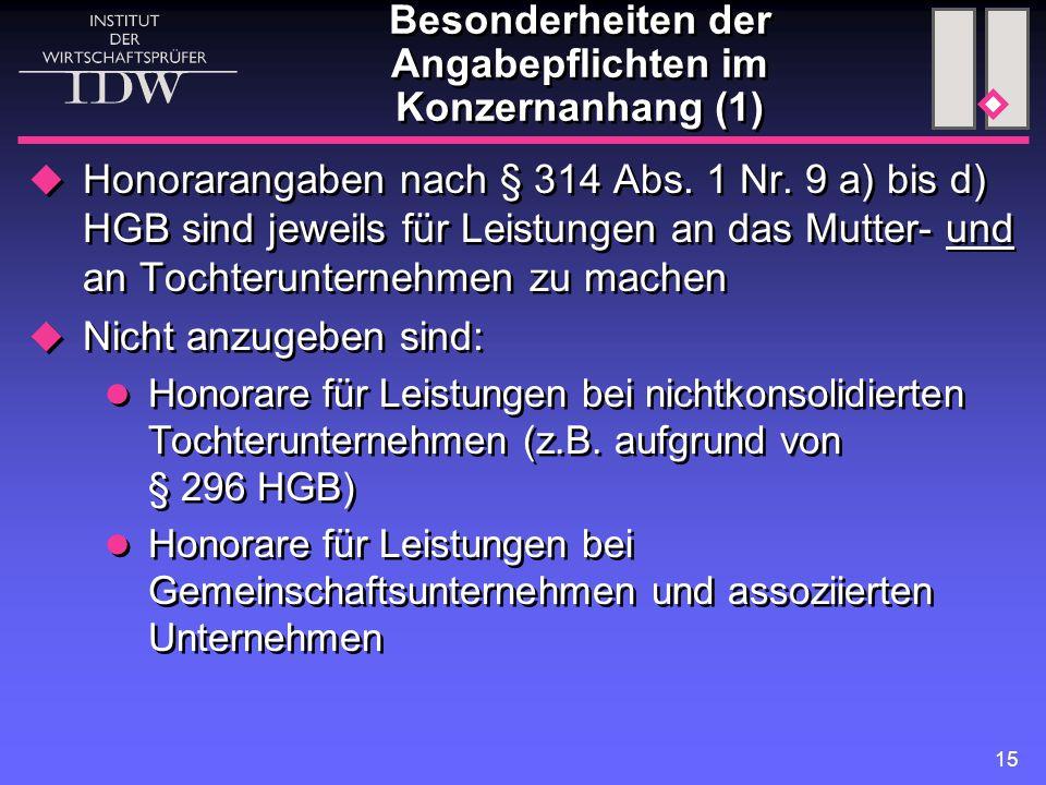 15 Besonderheiten der Angabepflichten im Konzernanhang (1)  Honorarangaben nach § 314 Abs. 1 Nr. 9 a) bis d) HGB sind jeweils für Leistungen an das M