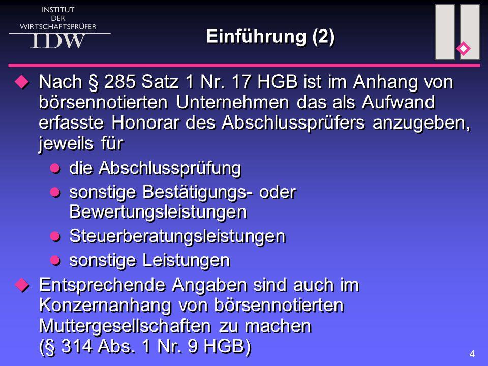 15 Besonderheiten der Angabepflichten im Konzernanhang (1)  Honorarangaben nach § 314 Abs.