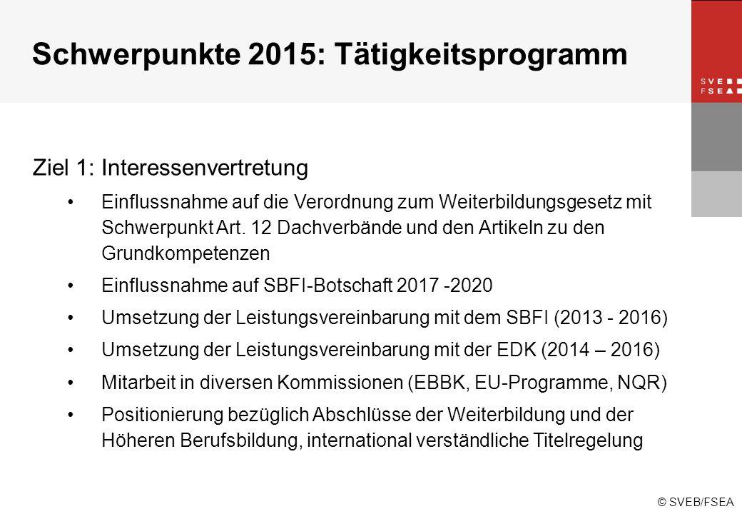 © SVEB/FSEA Schwerpunkte 2015: Tätigkeitsprogramm Ziel 1: Interessenvertretung Einflussnahme auf die Verordnung zum Weiterbildungsgesetz mit Schwerpunkt Art.