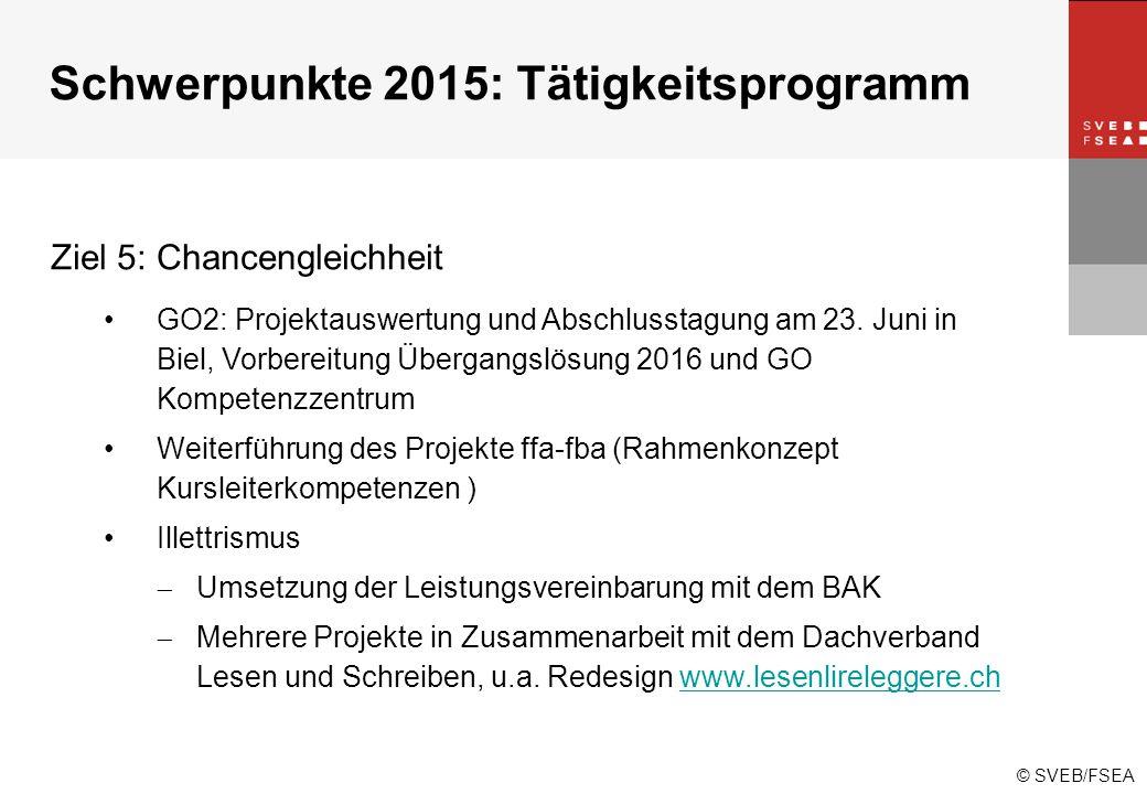 © SVEB/FSEA Ziel 5: Chancengleichheit GO2: Projektauswertung und Abschlusstagung am 23.