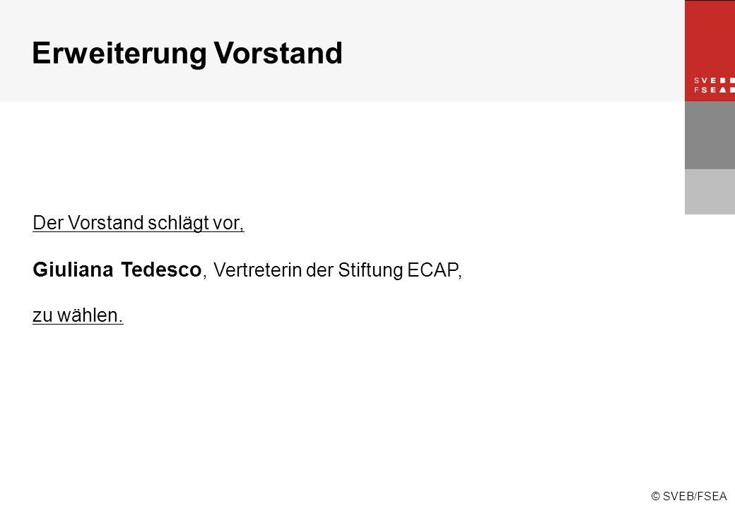 © SVEB/FSEA Der Vorstand schlägt vor, Giuliana Tedesco, Vertreterin der Stiftung ECAP, zu wählen.