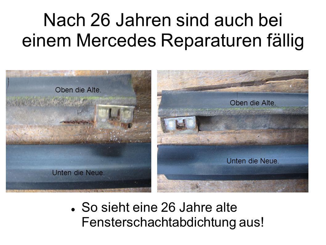 Fensterschachtabdichtung gewechselt am 15.04.2010 Nach der Demontage: Die Zierleiste wurde mittels einem Kunststoff Keil nach oben aus den Klammern geschlagen und abgehoben.