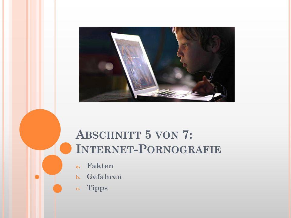 A BSCHNITT 5 VON 7: I NTERNET -P ORNOGRAFIE a. Fakten b. Gefahren c. Tipps