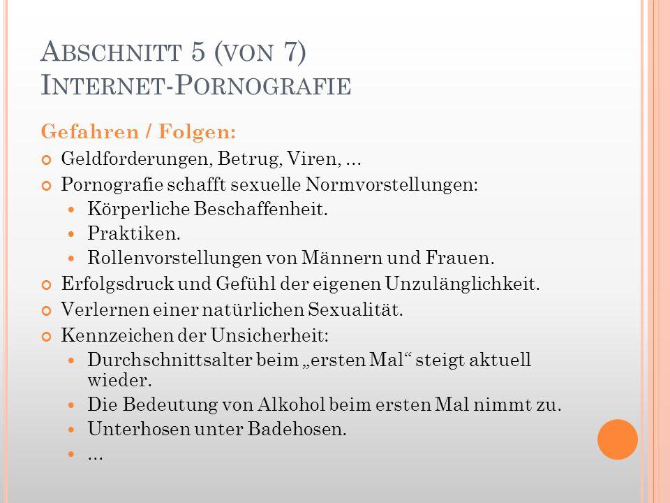 A BSCHNITT 5 ( VON 7) I NTERNET -P ORNOGRAFIE Gefahren / Folgen: Geldforderungen, Betrug, Viren,... Pornografie schafft sexuelle Normvorstellungen: Kö