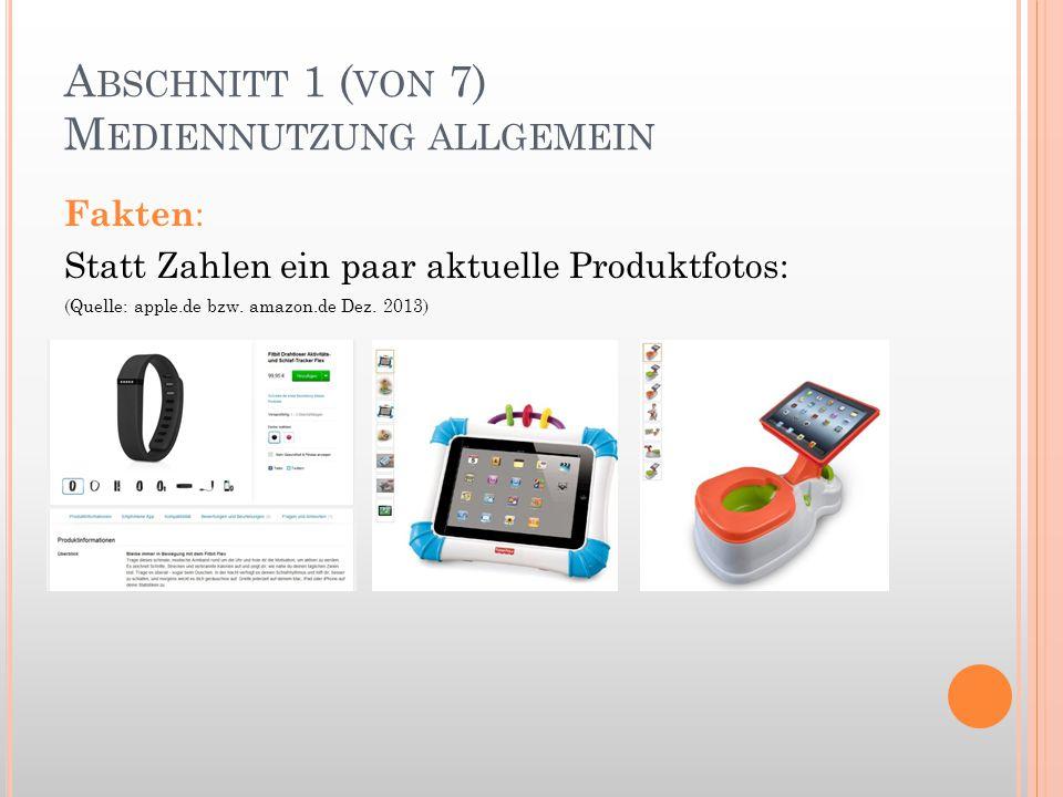 A BSCHNITT 1 ( VON 7) M EDIENNUTZUNG ALLGEMEIN Fakten : Statt Zahlen ein paar aktuelle Produktfotos: (Quelle: apple.de bzw. amazon.de Dez. 2013)