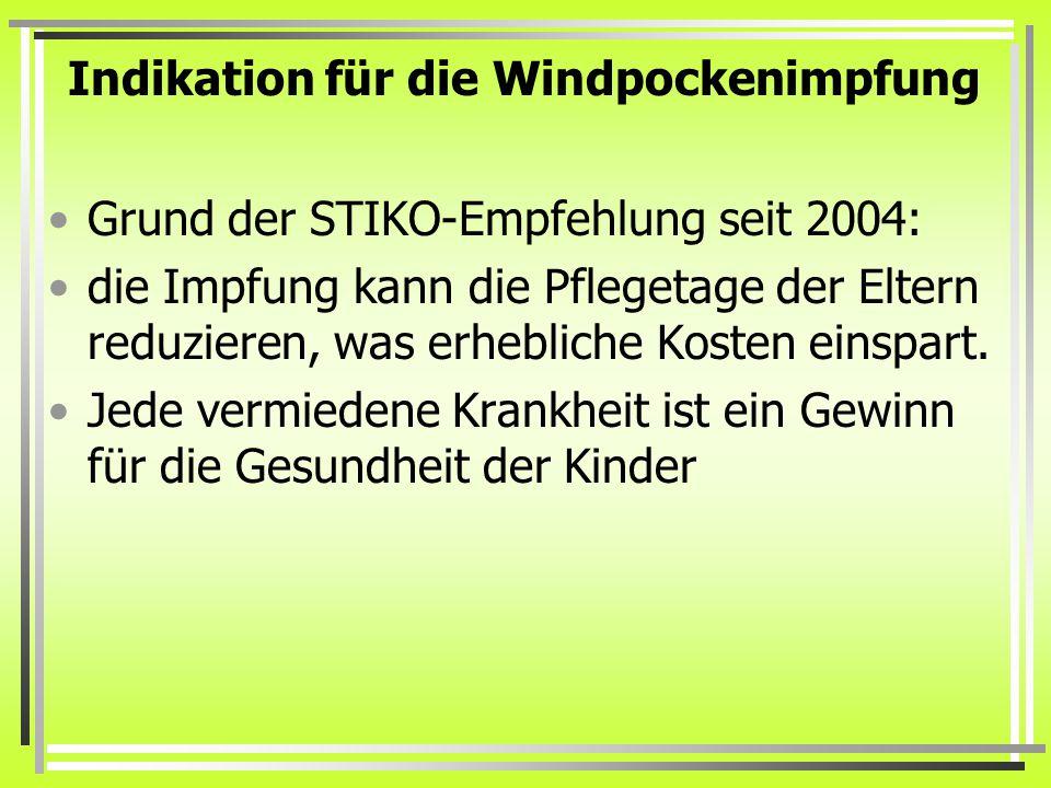 Indikation für die Windpockenimpfung Grund der STIKO-Empfehlung seit 2004: die Impfung kann die Pflegetage der Eltern reduzieren, was erhebliche Kosten einspart.