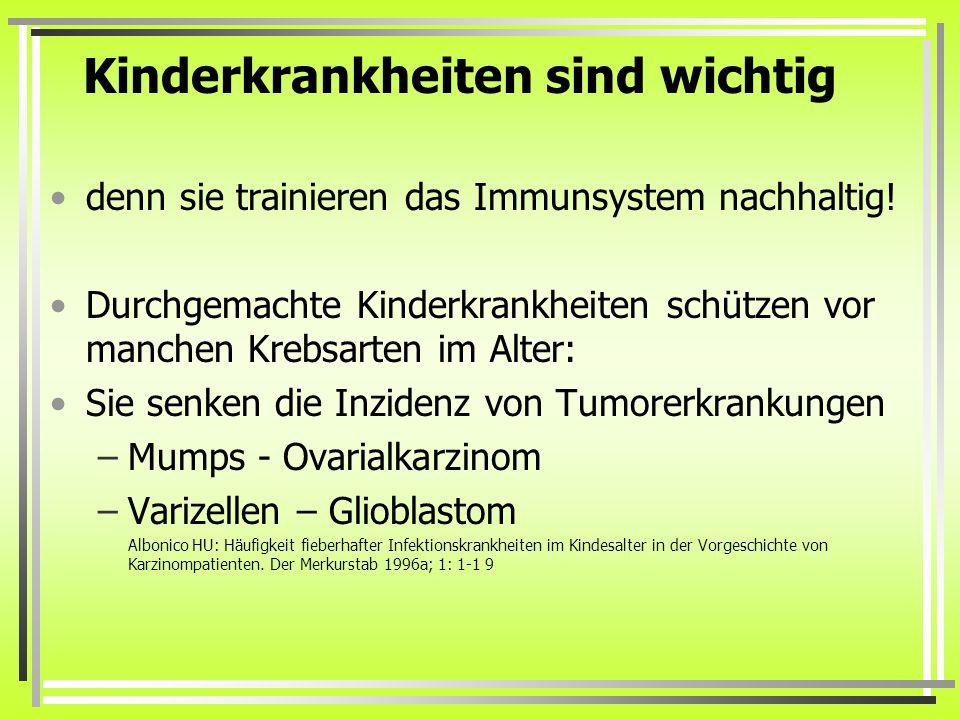 Kinderkrankheiten sind wichtig denn sie trainieren das Immunsystem nachhaltig.
