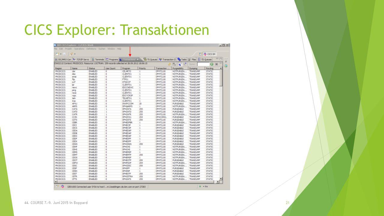 CICS Explorer: Transaktionen 44. COURSE 7.-9. Juni 2015 in Boppard21