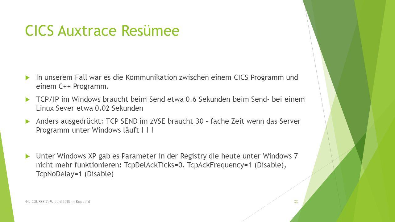 CICS Auxtrace Resümee  In unserem Fall war es die Kommunikation zwischen einem CICS Programm und einem C++ Programm.