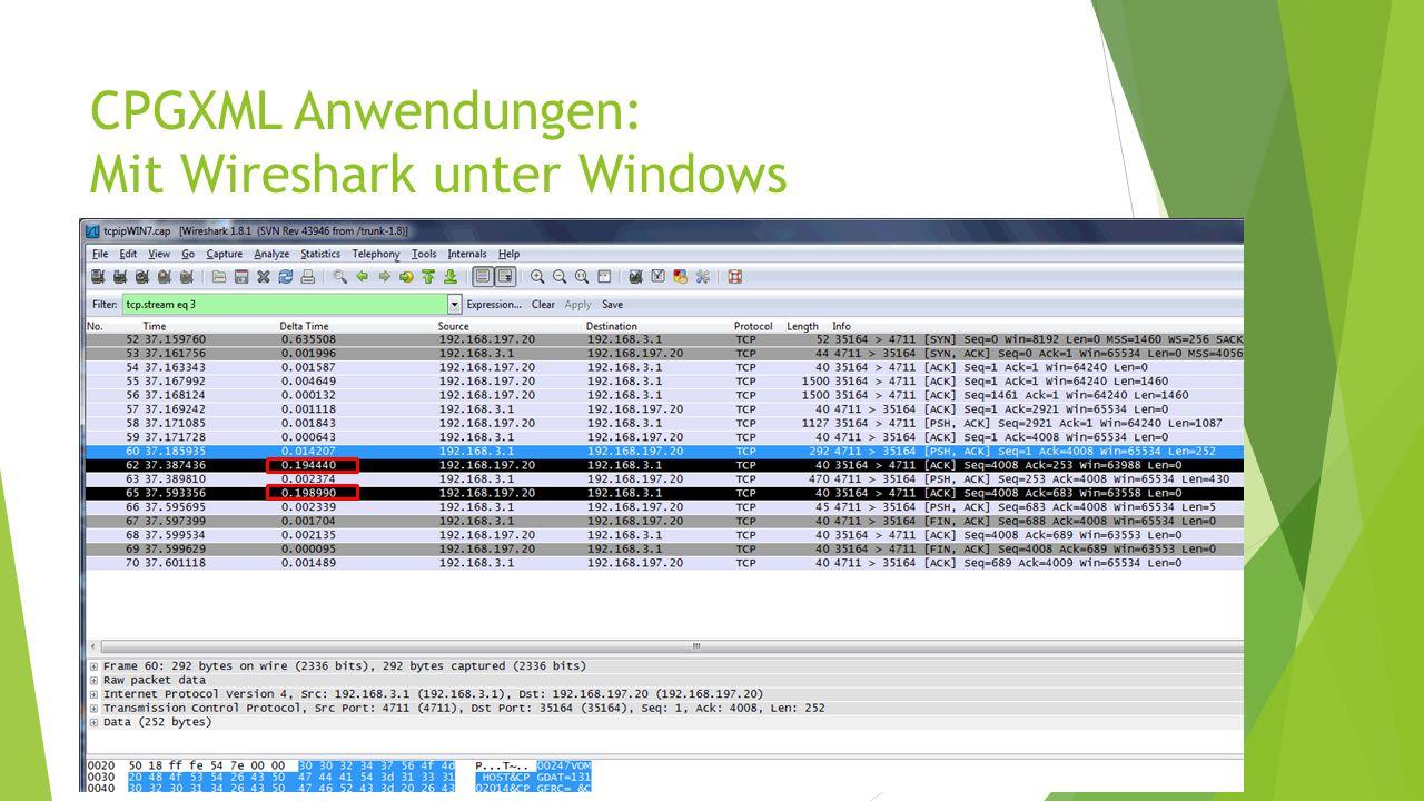 CPGXML Anwendungen: Mit Wireshark unter Windows