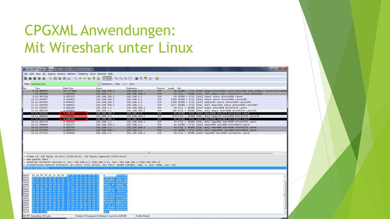 CPGXML Anwendungen: Mit Wireshark unter Linux