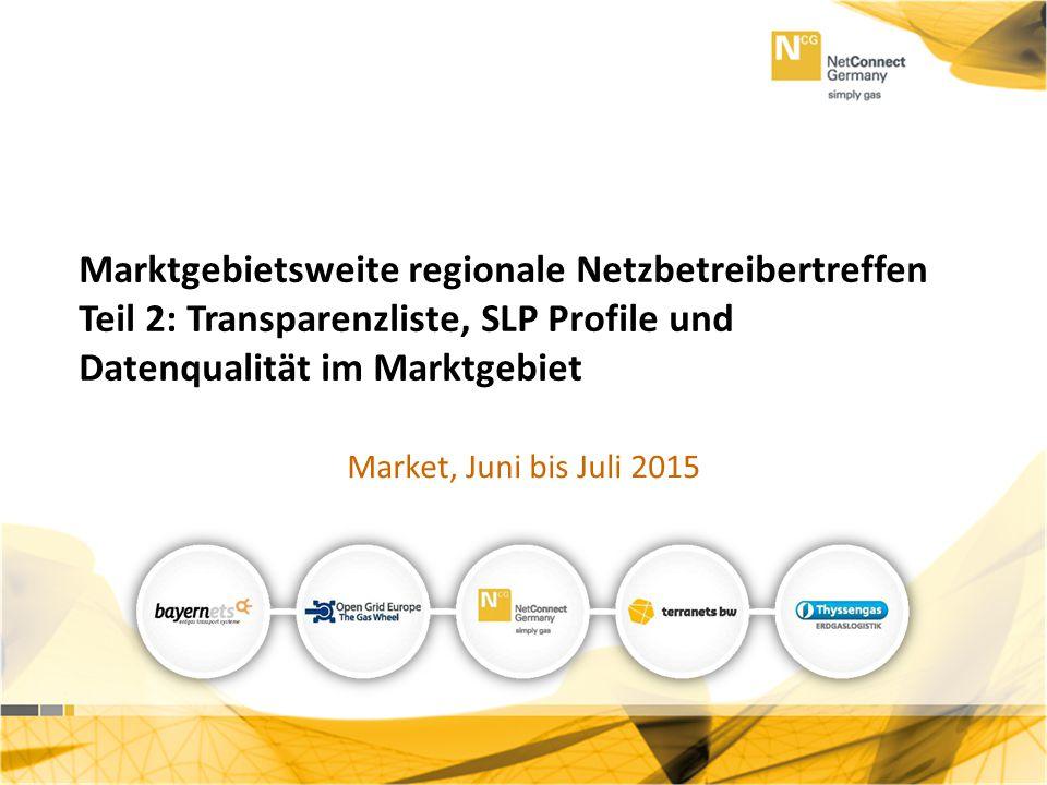 Teil 2: Neuerungen SLP und Datenqualität Marktgebietsweite regionale Netzbetreibertreffen Teil 2: Transparenzliste, SLP Profile und Datenqualität im M