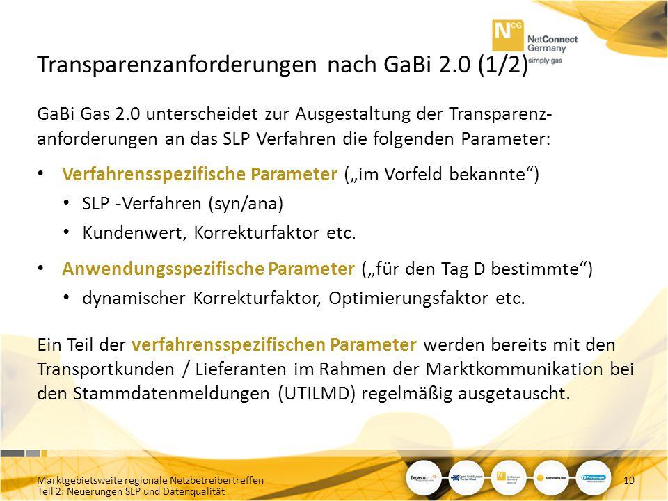 Teil 2: Neuerungen SLP und Datenqualität Transparenzanforderungen nach GaBi 2.0 (1/2) GaBi Gas 2.0 unterscheidet zur Ausgestaltung der Transparenz- an