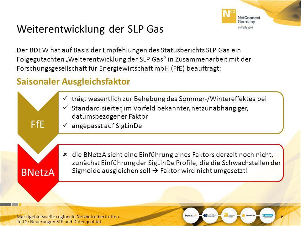 Teil 2: Neuerungen SLP und Datenqualität Kumulierter Regelenergie-Einsatz: – Nettomengen (H & L-Gas kombiniert) Marktgebietsweite regionale Netzbetreibertreffen17