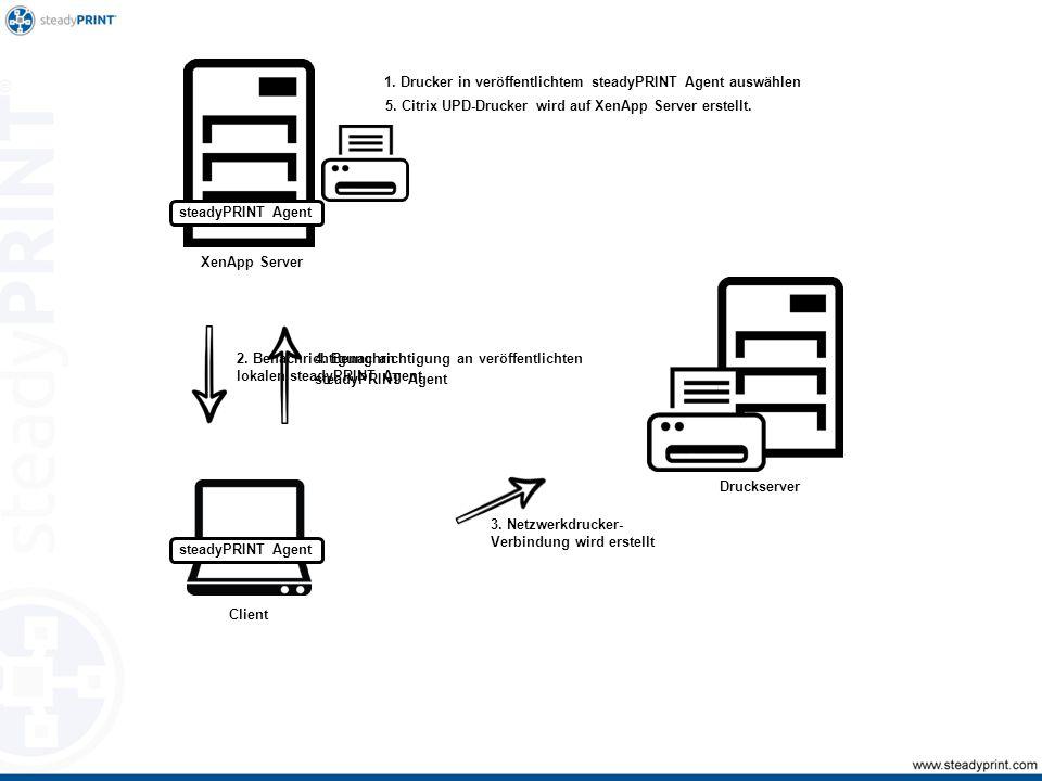 1. Drucker in veröffentlichtem steadyPRINT Agent auswählen 2.