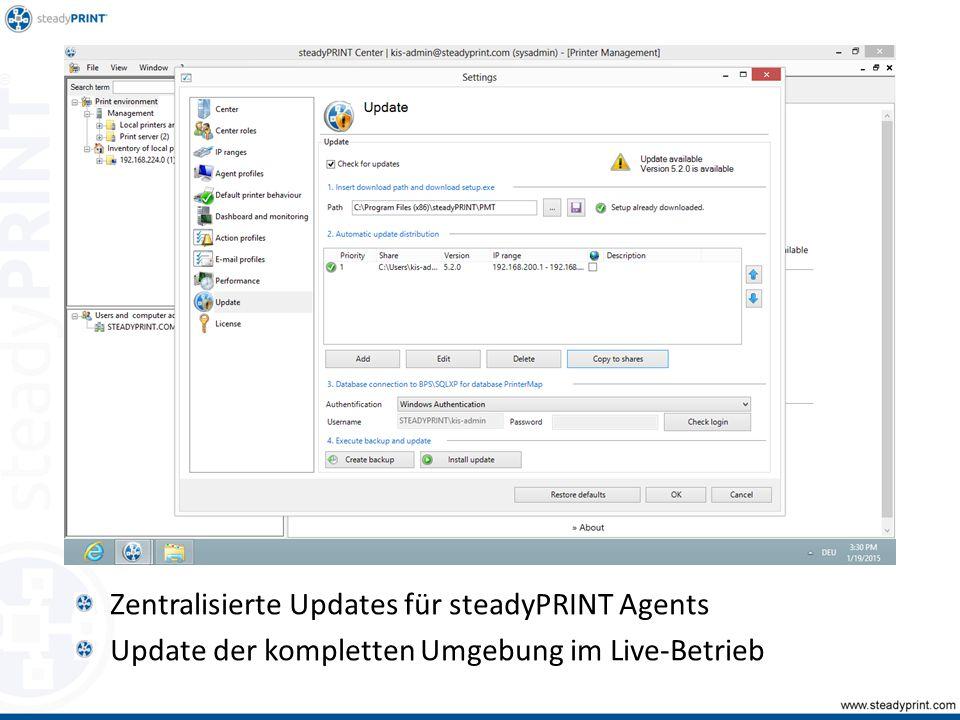 Zentralisierte Updates für steadyPRINT Agents Update der kompletten Umgebung im Live-Betrieb Sp-center-070