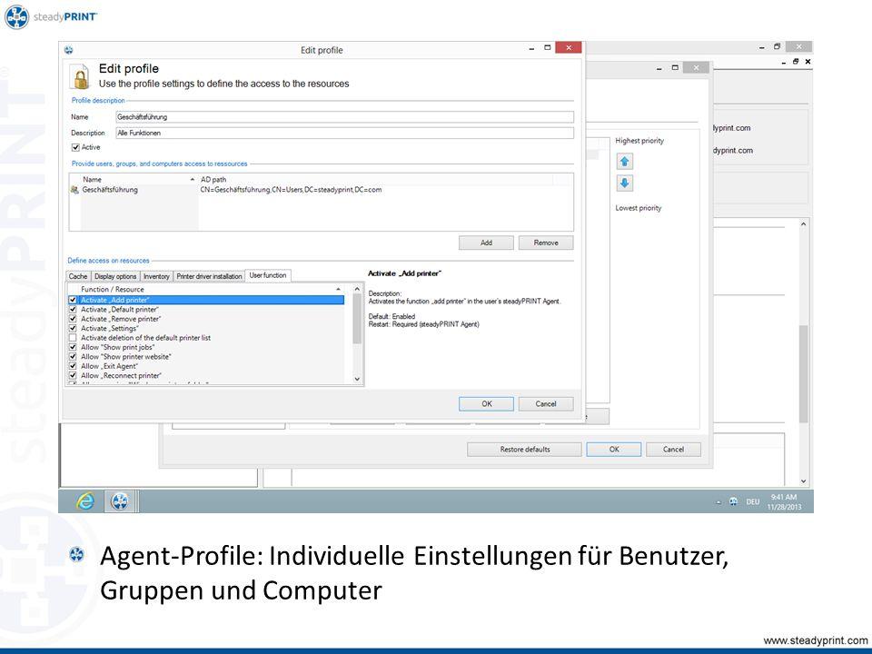 Agent-Profile: Individuelle Einstellungen für Benutzer, Gruppen und Computer Sp-center-014, 015