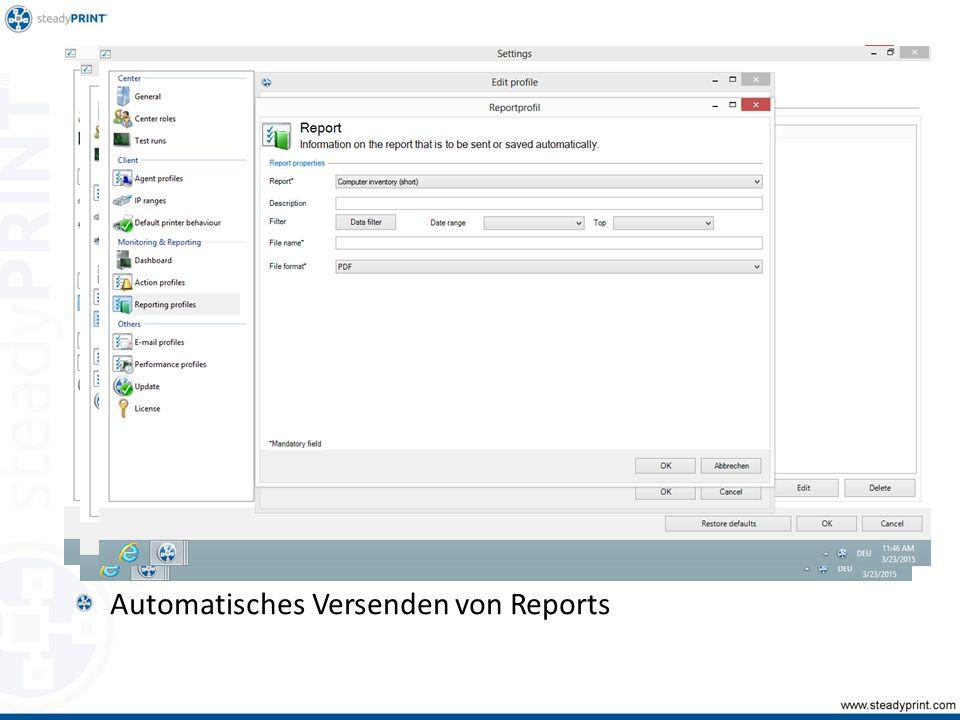 Automatisches Versenden von Reports Sp-center-083, 084, 085