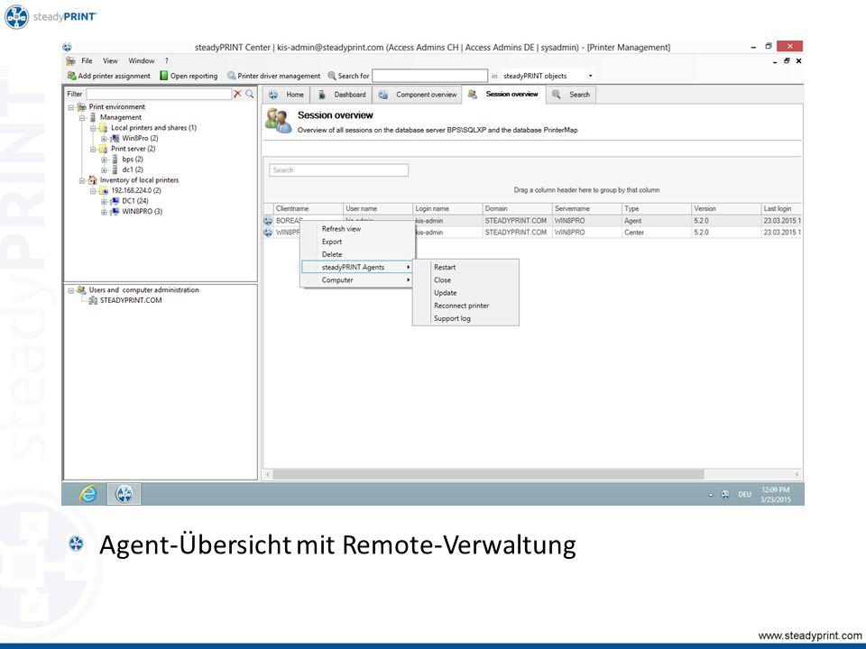 Agent-Übersicht mit Remote-Verwaltung Sp-center-087