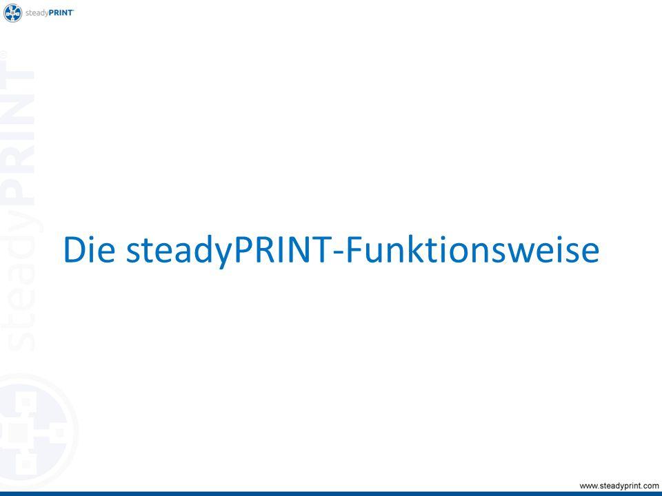 steadyPRINT CenterDatenbank steadyPRINT Agent User Lexmark T642 Client Druckserver steadyPRINT Server Druck1.xps Druckdaten Welcher Drucker.