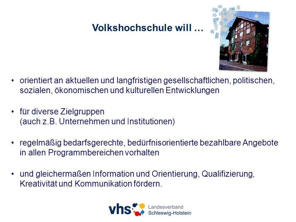 Volkshochschule will … orientiert an aktuellen und langfristigen gesellschaftlichen, politischen, sozialen, ökonomischen und kulturellen Entwicklungen für diverse Zielgruppen (auch z.B.
