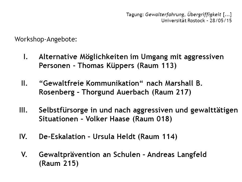 """Workshop-Angebote: I. Alternative Möglichkeiten im Umgang mit aggressiven Personen - Thomas Küppers (Raum 113) II. """"Gewaltfreie Kommunikation"""" nach Ma"""