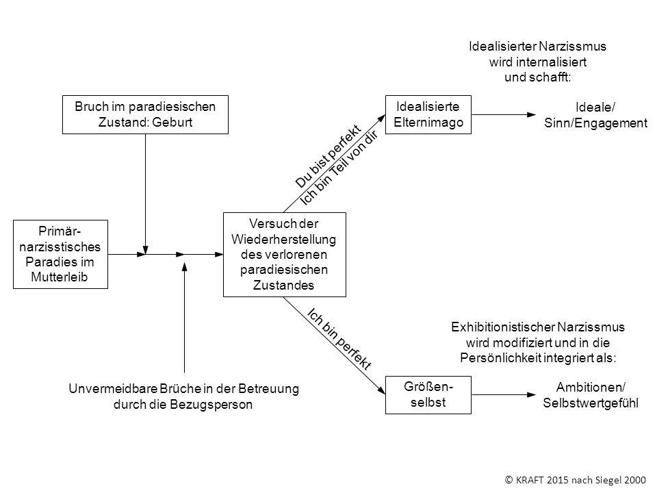 © KRAFT 2015 nach Siegel 2000 Idealisierter Narzissmus wird internalisiert und schafft: Exhibitionistischer Narzissmus wird modifiziert und in die Per