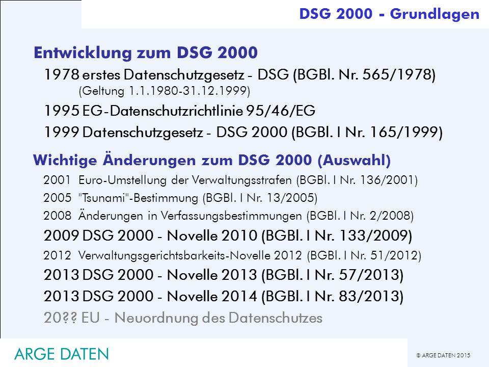 © ARGE DATEN 2015 ARGE DATEN Entwicklung zum DSG 2000 1978erstes Datenschutzgesetz - DSG (BGBl.