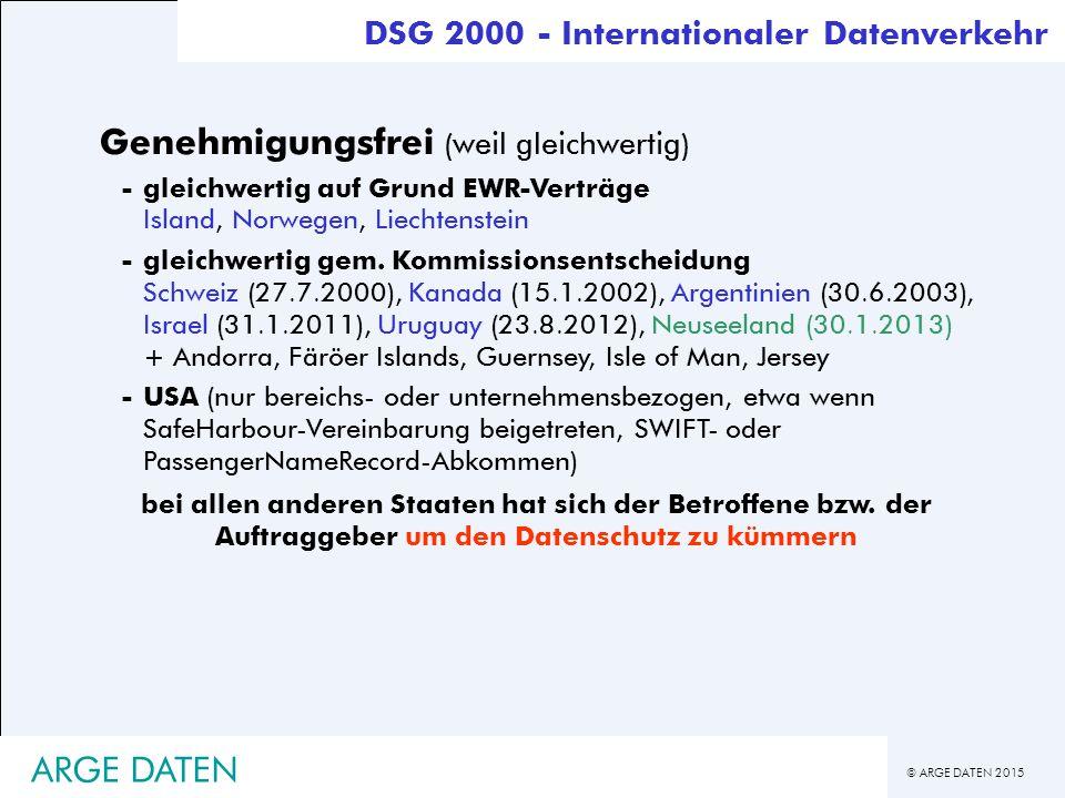 © ARGE DATEN 2015 ARGE DATEN Genehmigungsfrei (weil gleichwertig) -gleichwertig auf Grund EWR-Verträge Island, Norwegen, Liechtenstein -gleichwertig gem.