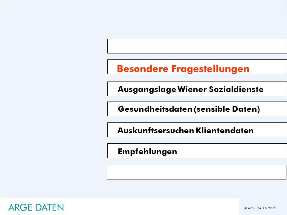 © ARGE DATEN 2015 ARGE DATEN Besondere Fragestellungen Gesundheitsdaten (sensible Daten) Auskunftsersuchen Klientendaten Ausgangslage Wiener Sozialdienste Empfehlungen