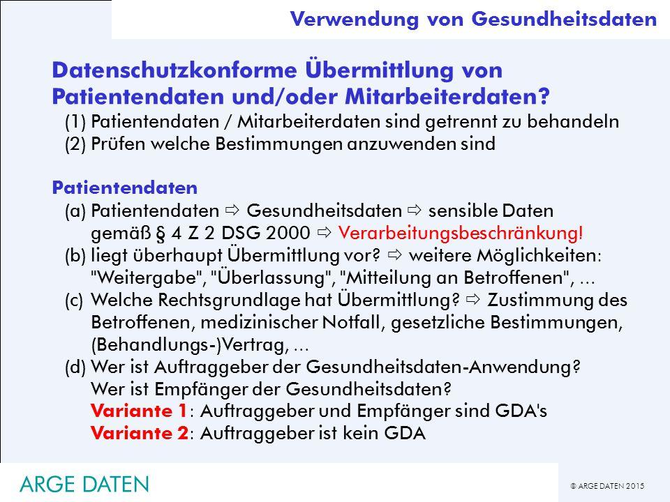© ARGE DATEN 2015 Datenschutzkonforme Übermittlung von Patientendaten und/oder Mitarbeiterdaten.