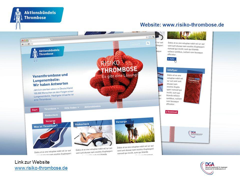 Link zur Website www.risiko-thrombose.de Website: www.risiko-thrombose.de