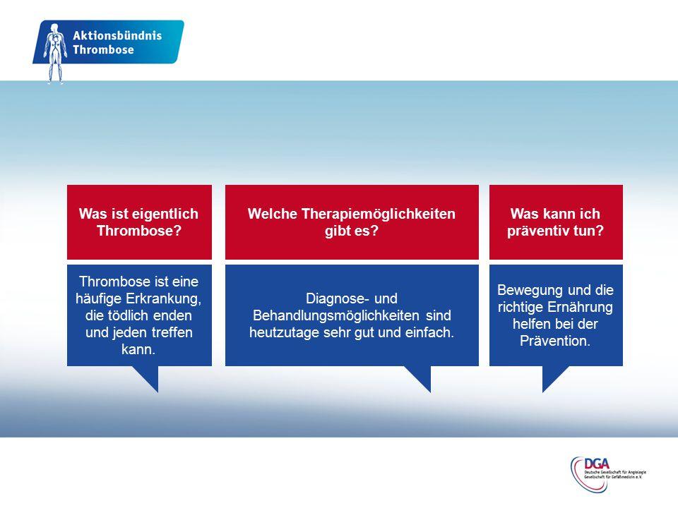 Was ist eigentlich Thrombose? Thrombose ist eine häufige Erkrankung, die tödlich enden und jeden treffen kann. Welche Therapiemöglichkeiten gibt es? D