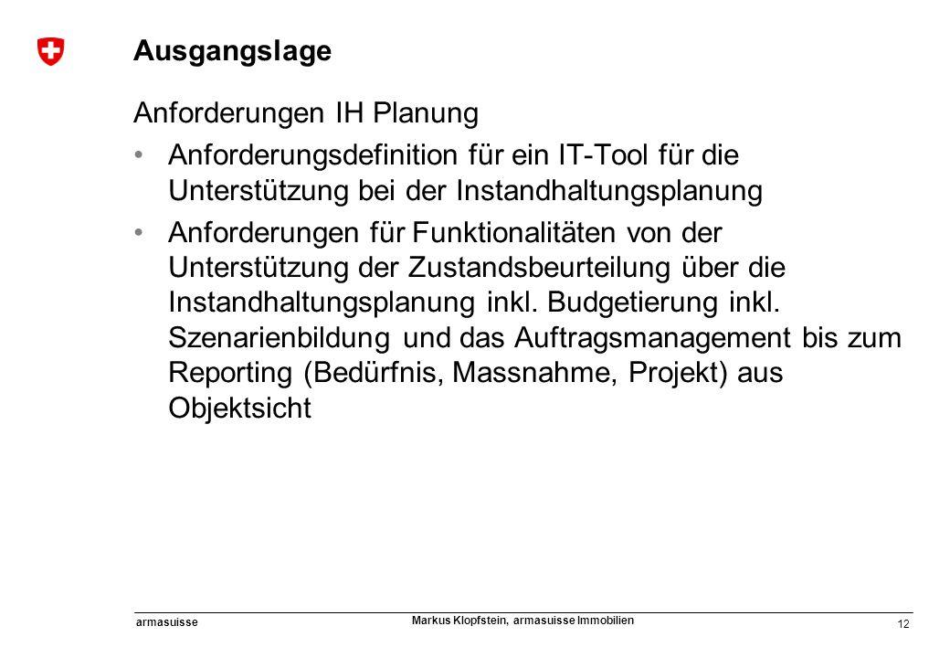 12 armasuisse Markus Klopfstein, armasuisse Immobilien Ausgangslage Anforderungen IH Planung Anforderungsdefinition für ein IT-Tool für die Unterstütz