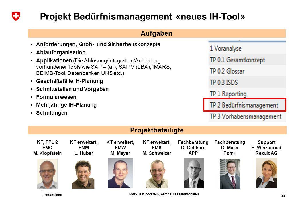 22 armasuisse Markus Klopfstein, armasuisse Immobilien Projekt Bedürfnismanagement «neues IH-Tool» KT, TPL 2 FMO M. Klopfstein KT erweitert, FMM L. Hu
