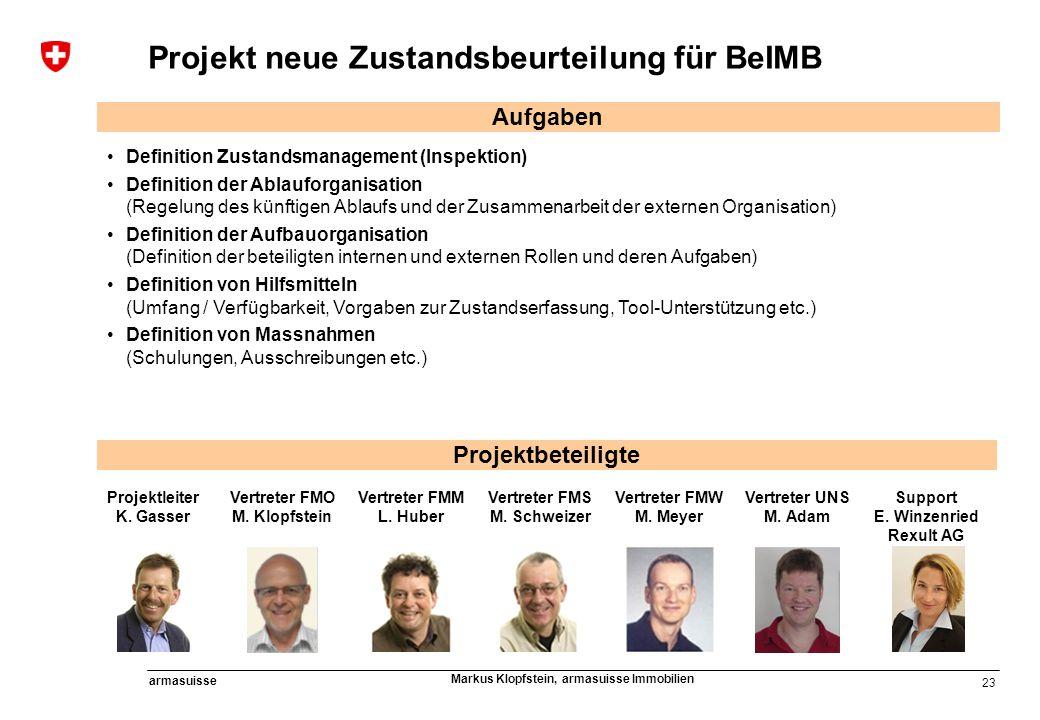23 armasuisse Markus Klopfstein, armasuisse Immobilien Aufgaben Definition Zustandsmanagement (Inspektion) Definition der Ablauforganisation (Regelung