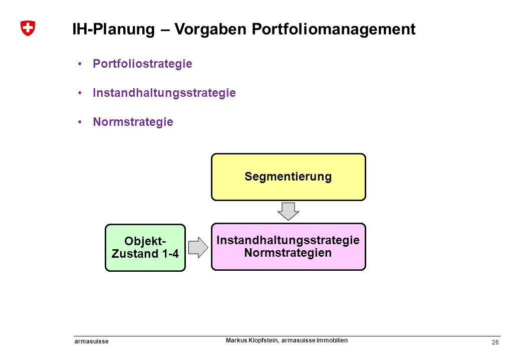 26 armasuisse Markus Klopfstein, armasuisse Immobilien IH-Planung – Vorgaben Portfoliomanagement Portfoliostrategie Instandhaltungsstrategie Normstrat