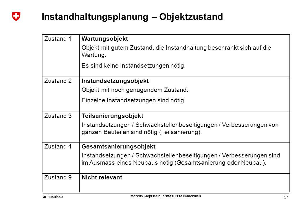 27 armasuisse Markus Klopfstein, armasuisse Immobilien Zustand 1Wartungsobjekt Objekt mit gutem Zustand, die Instandhaltung beschränkt sich auf die Wa