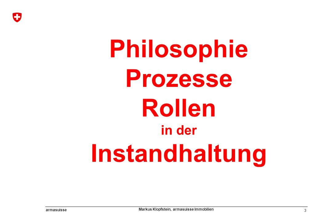3 armasuisse Markus Klopfstein, armasuisse Immobilien Philosophie Prozesse Rollen in der Instandhaltung