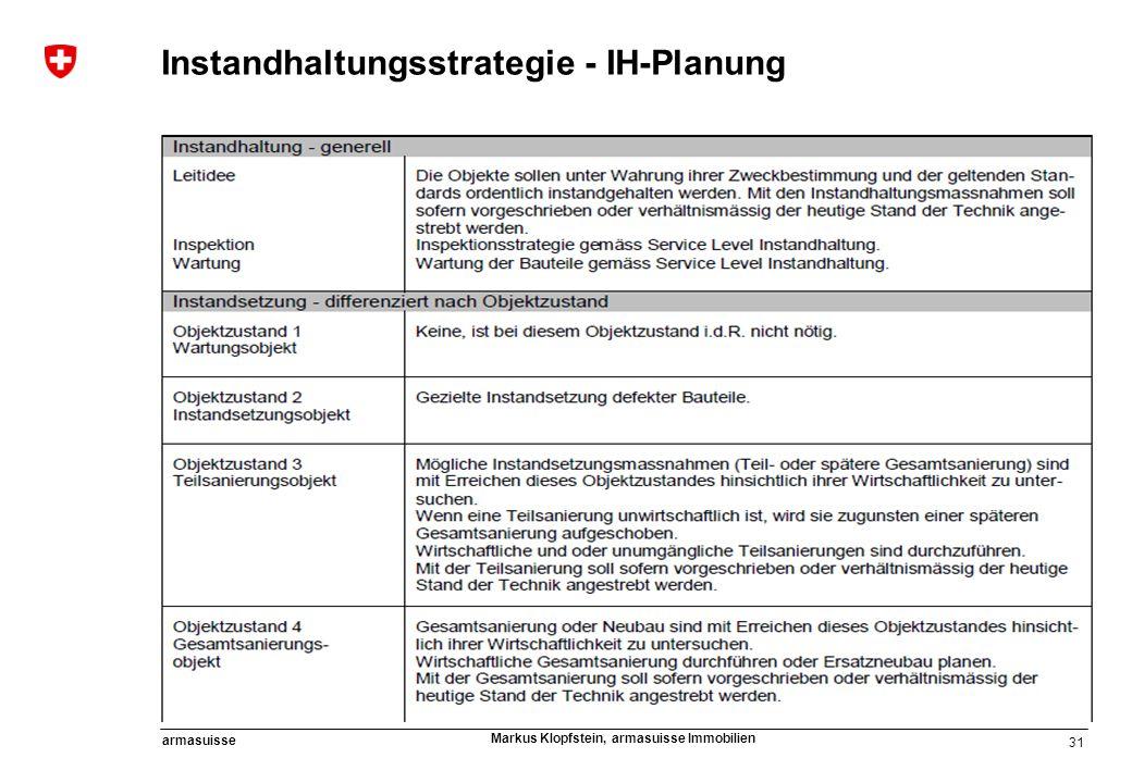 31 armasuisse Markus Klopfstein, armasuisse Immobilien Instandhaltungsstrategie - IH-Planung