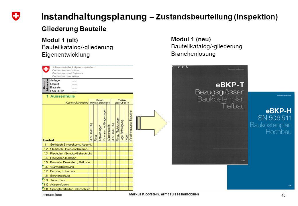40 armasuisse Markus Klopfstein, armasuisse Immobilien Modul 1 (alt) Bauteilkatalog/-gliederung Eigenentwicklung Modul 1 (neu) Bauteilkatalog/-glieder