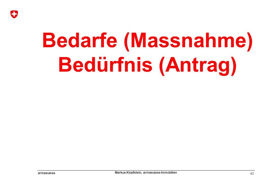 43 armasuisse Markus Klopfstein, armasuisse Immobilien Bedarfe (Massnahme) Bedürfnis (Antrag)