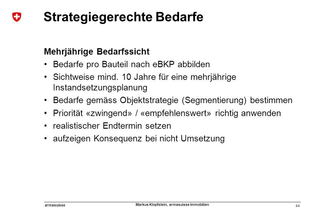 44 armasuisse Markus Klopfstein, armasuisse Immobilien Strategiegerechte Bedarfe Mehrjährige Bedarfssicht Bedarfe pro Bauteil nach eBKP abbilden Sicht