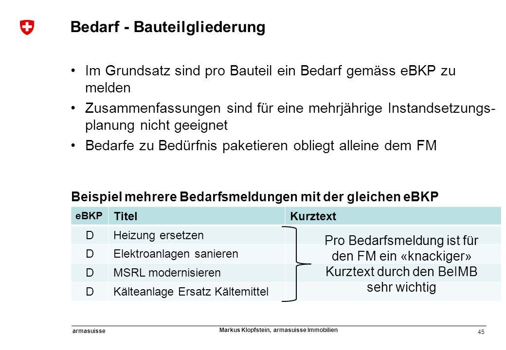 45 armasuisse Markus Klopfstein, armasuisse Immobilien Bedarf - Bauteilgliederung Im Grundsatz sind pro Bauteil ein Bedarf gemäss eBKP zu melden Zusam