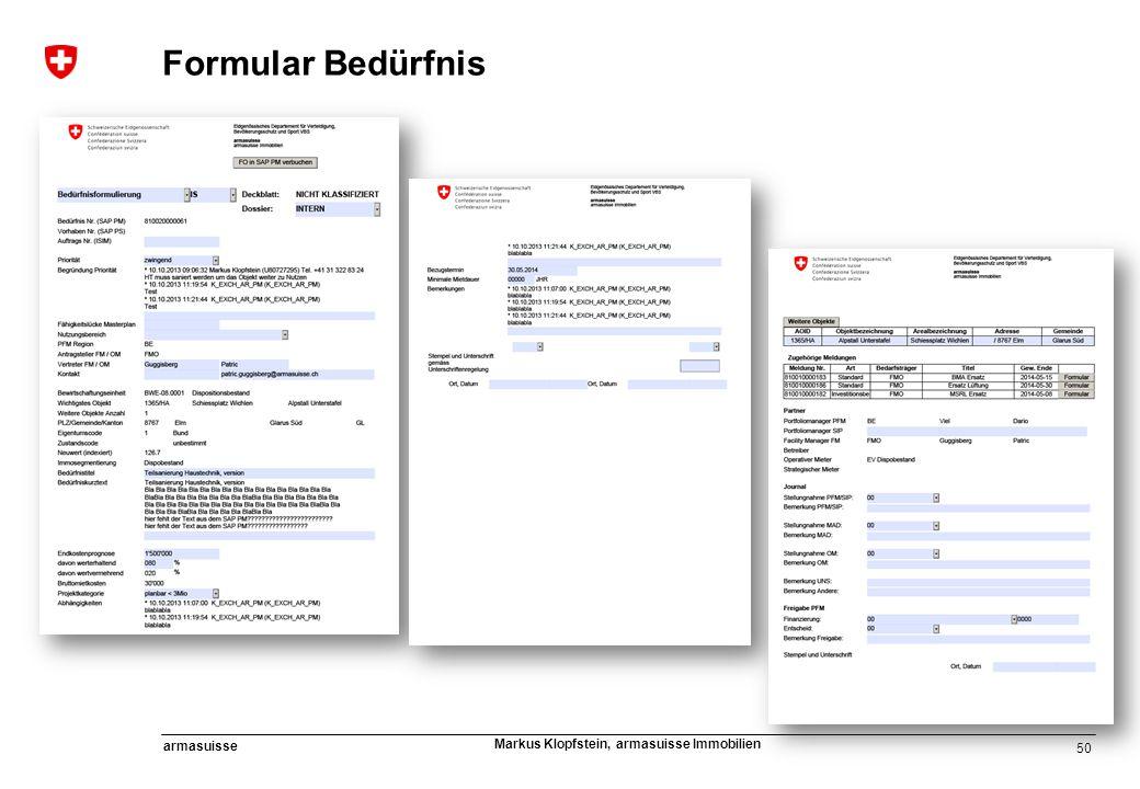 50 armasuisse Markus Klopfstein, armasuisse Immobilien Formular Bedürfnis