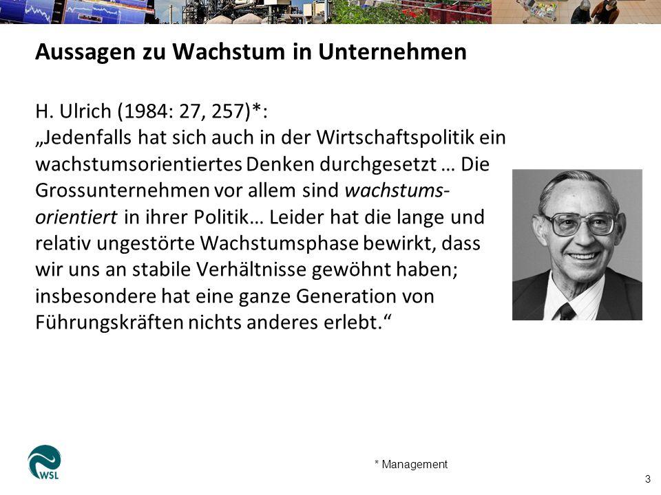 """H. Ulrich (1984: 27, 257)*: """"Jedenfalls hat sich auch in der Wirtschaftspolitik ein wachstumsorientiertes Denken durchgesetzt … Die Grossunternehmen v"""