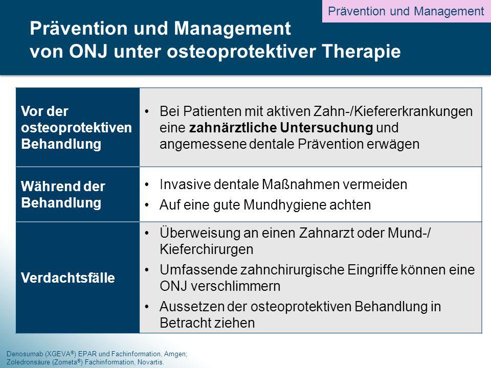 Denosumab (XGEVA ® ) EPAR und Fachinformation, Amgen; Zoledronsäure (Zometa ® ) Fachinformation, Novartis.